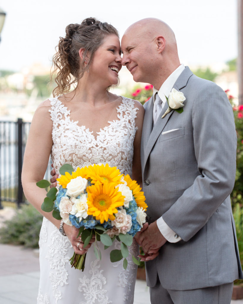 Fun bride and groom at the Molly Pitcher Inn in Red Bank, NJ photographed by Laura Billingham