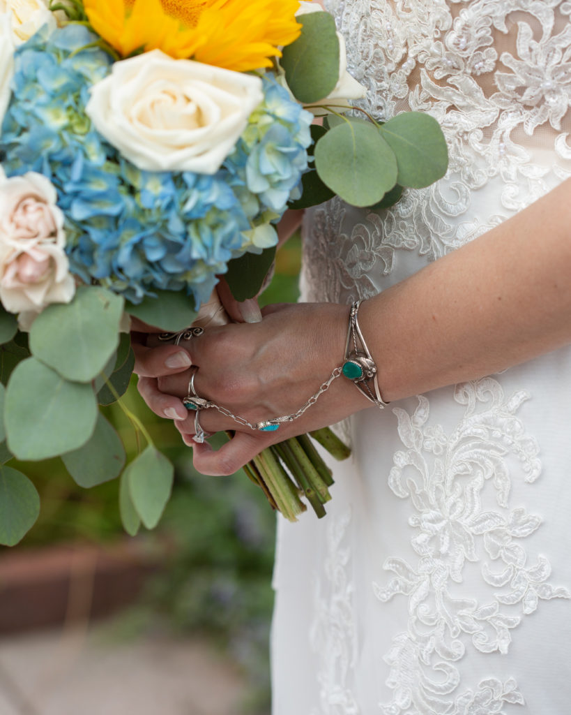 Detail of a summer bridal bouquet at the Molly Pitcher Inn in Red Bank, NJ photographed by Laura Billingham