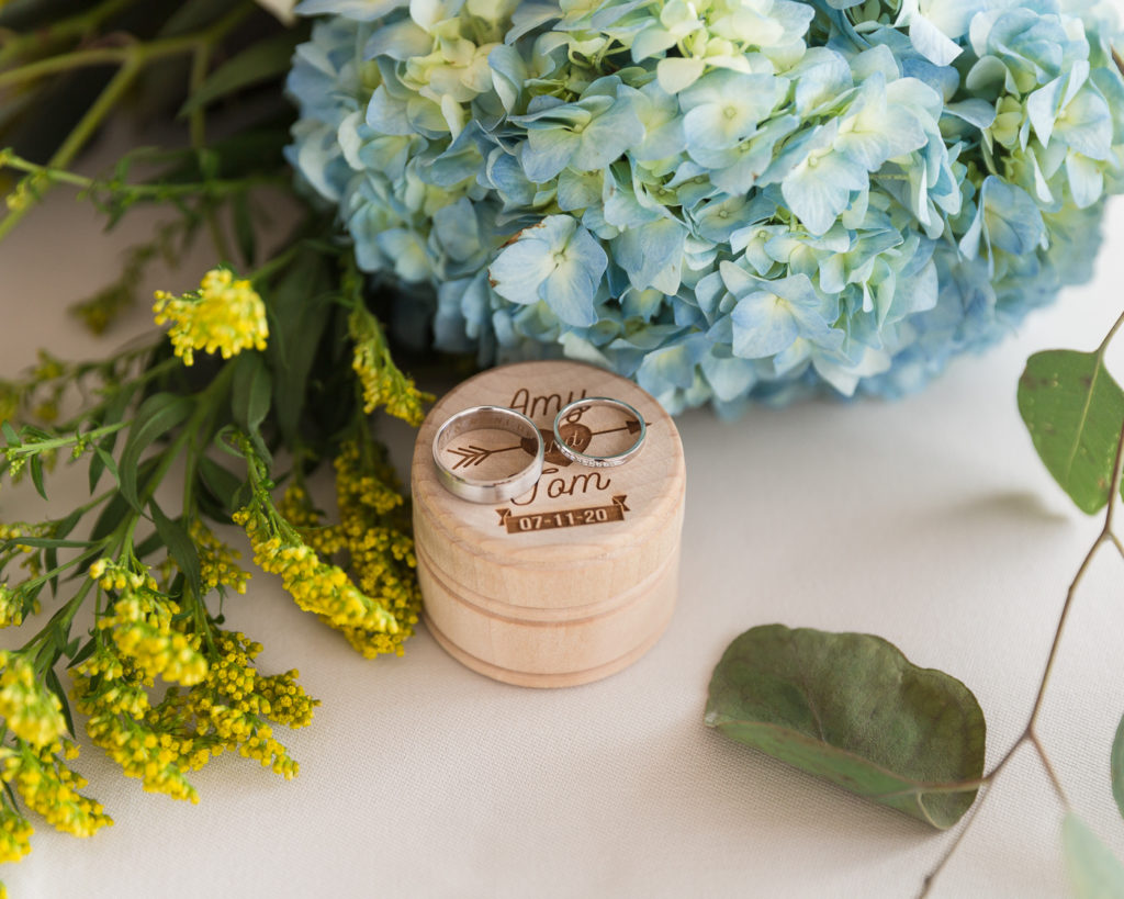 Detail of rings and elegant flowers at the Molly Pitcher Inn in Red Bank, NJ photographed by Laura Billingham