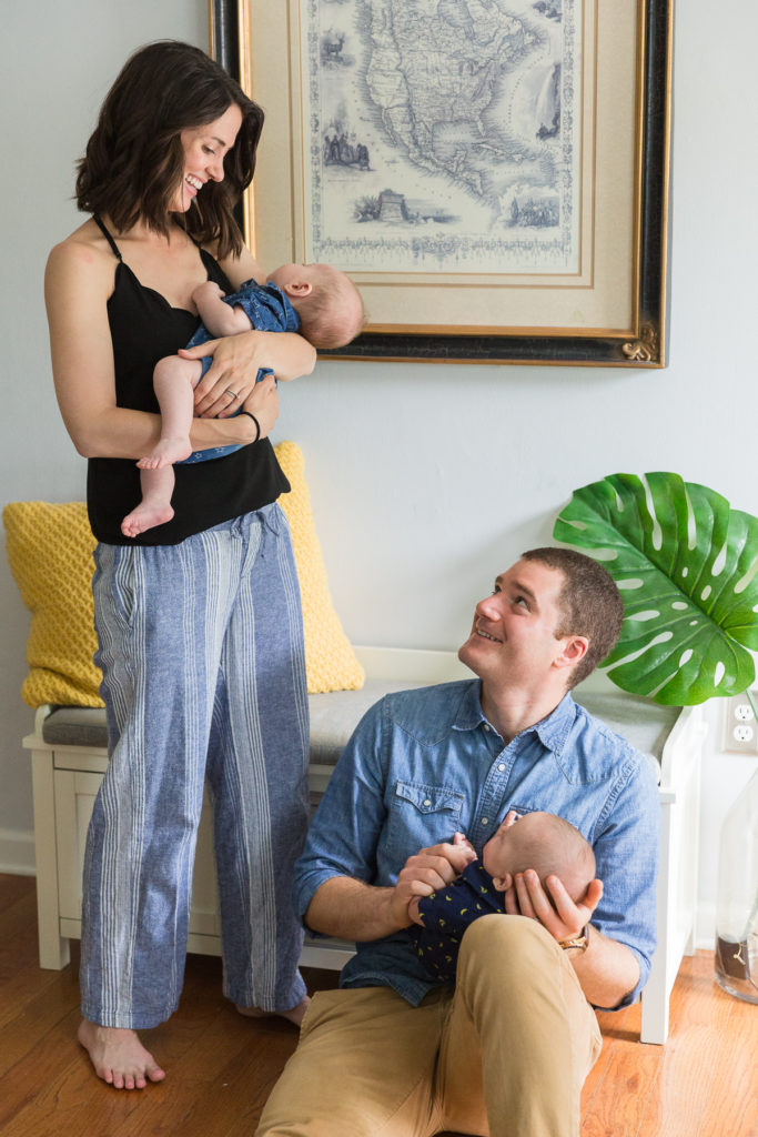 portrait of parents with newborn twins with dad by NJ family photographer Laura Billingham