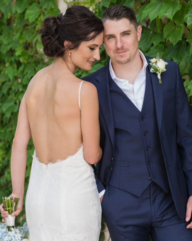 Portrait of an elegant bride and groom at Bridgeton House on the Delaware by Laura Billingham Photography