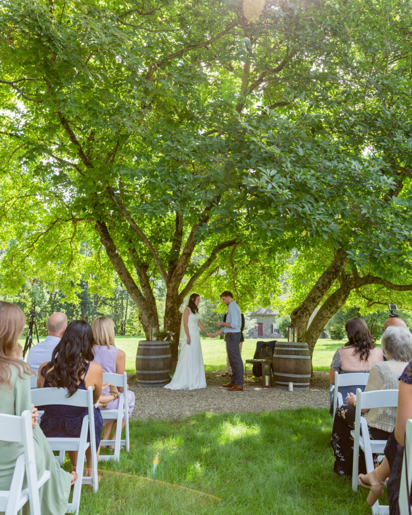 Bride and groom say their vows during an outdoor wedding ceremony at the Woolverton Inn in Stockton, NJ photographed by Laura Billingham Photography