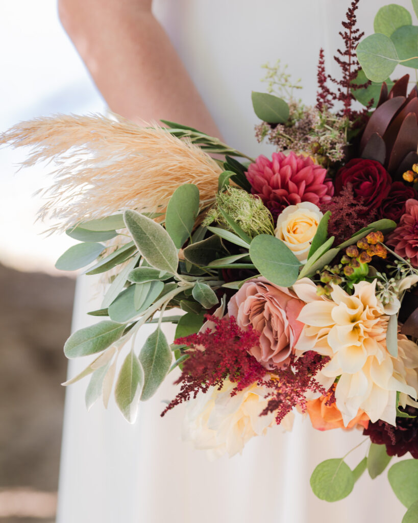 Fall wedding bouquet detail in Frenchtown, NJ photographed by Laura Billingham