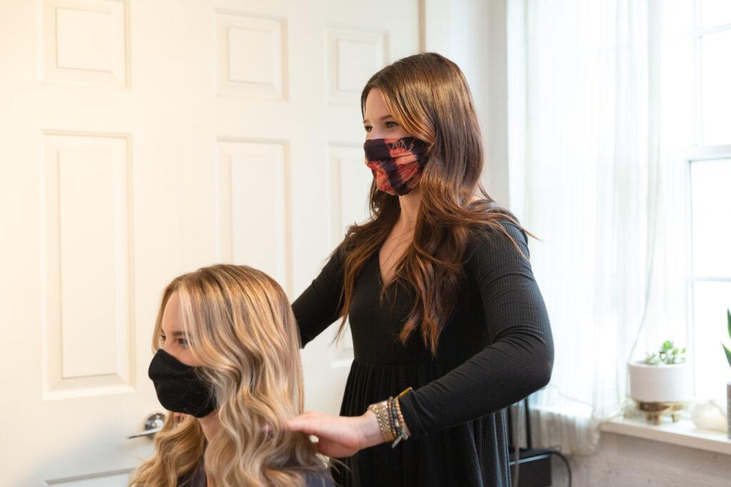 branding photography of luxury hair salon stylist at Euphoria Studio in Frenchtown, NJ