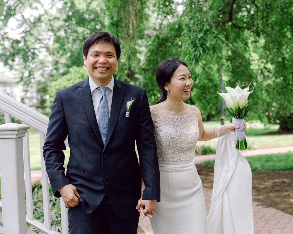 Elegant bride and groom smile with joy after their Flemington NJ elopement photographed by Laura Billingham
