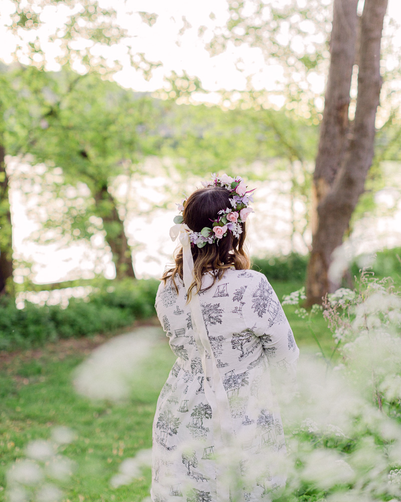 Portraits of a bohemian bride with flower crown near the Delaware River in Frenchotwn NJ