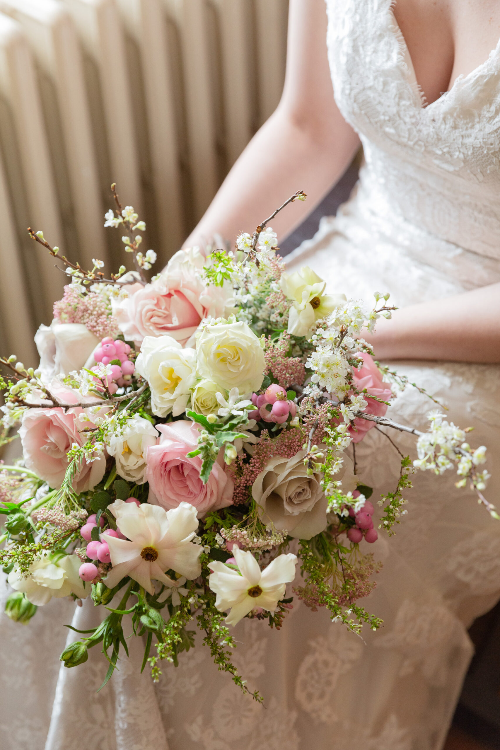 Lush spring bridal bouquet at the Sayre Mansion in Bethlehem, PA by Laura Billingham Photography