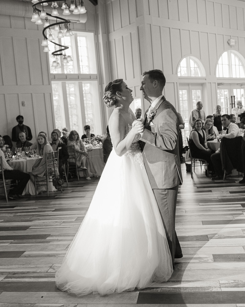 an elegant bride and groom share their first dance in the Coach House at the Ryland Inn in Whitehouse Station, NJ by Laura Billingham Photography