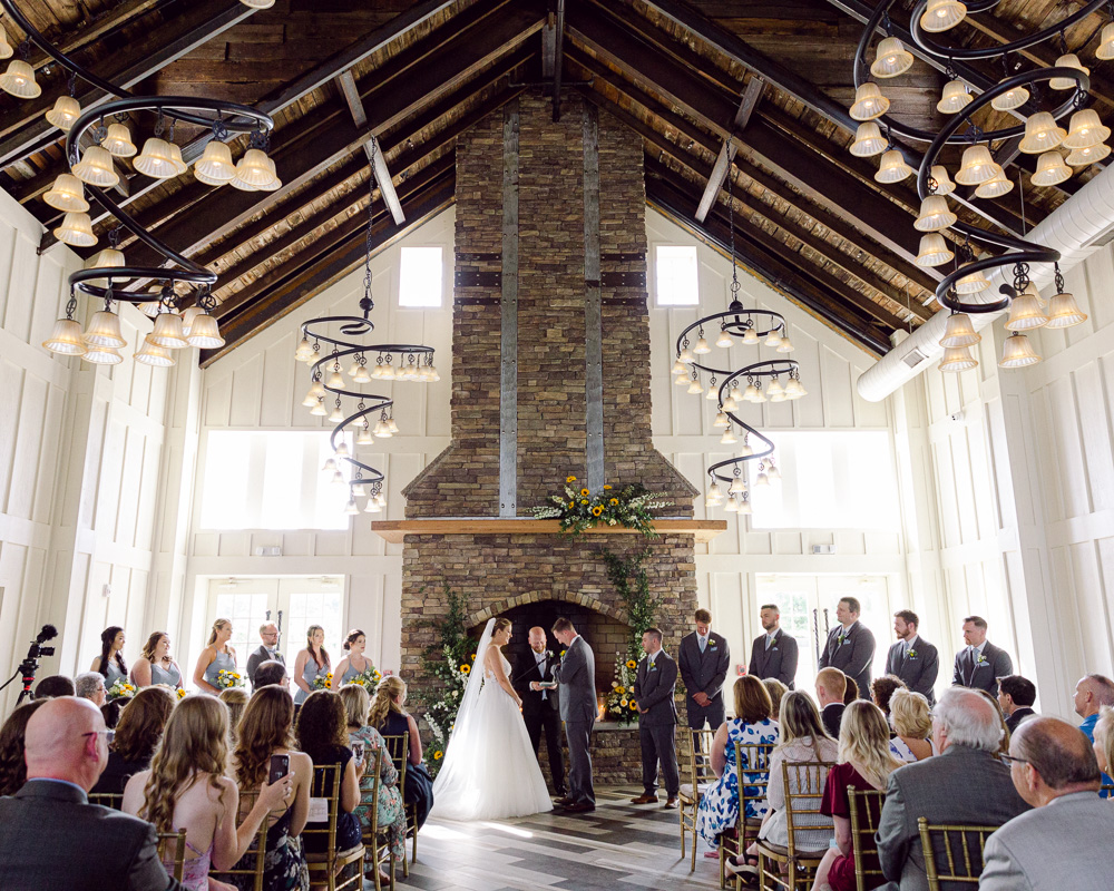 Elegant summer wedding ceremony in the Coach House at the Ryland Inn in Whitehouse Station, NJ by Laura Billingham Photography
