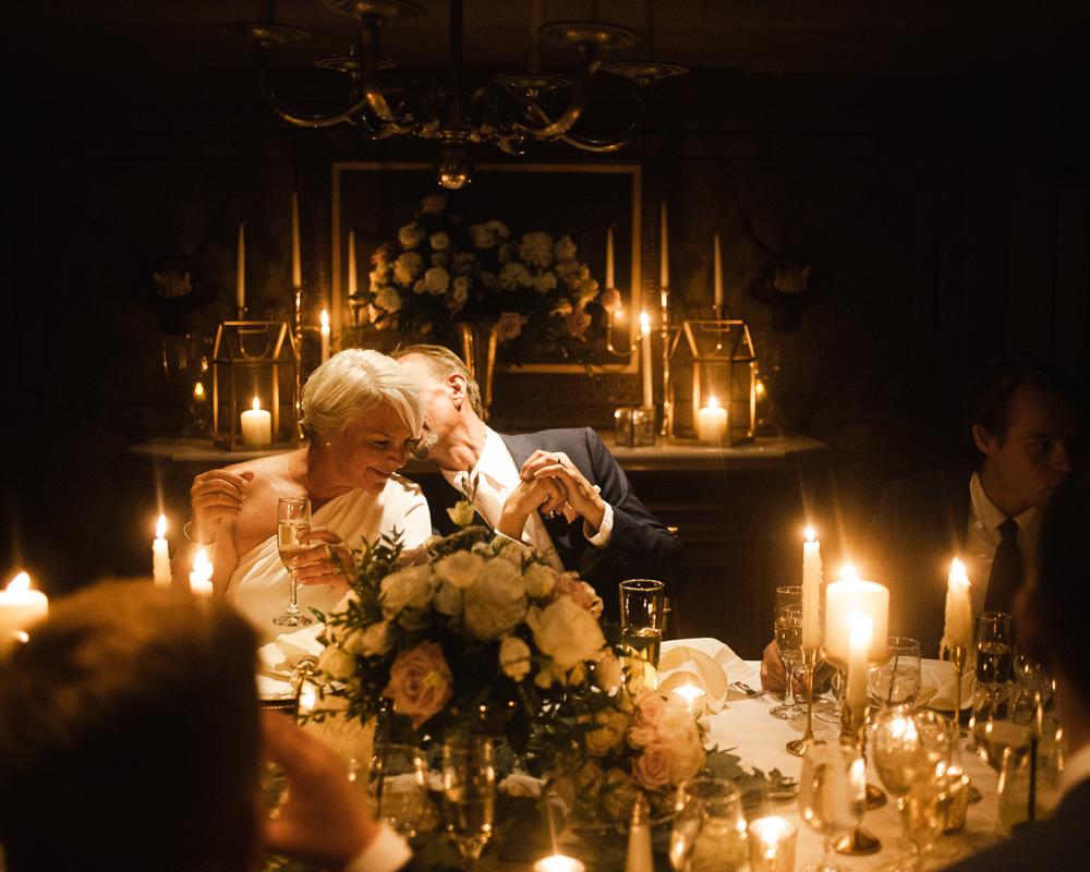 Elegant candlelit wedding reception at the Bernards Inn