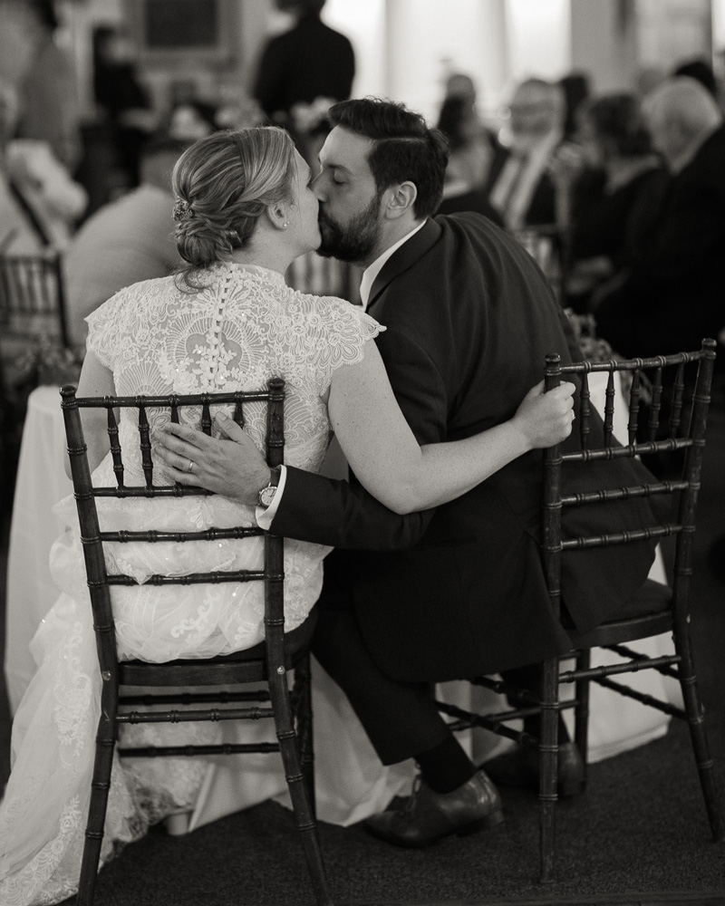 black and white photo of elegant bride and groom during their reception at HollyHedge Estate in New Hope, PA